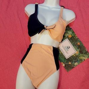 NWT Cupshe Peach & Navy Blue Bikini. Size Large